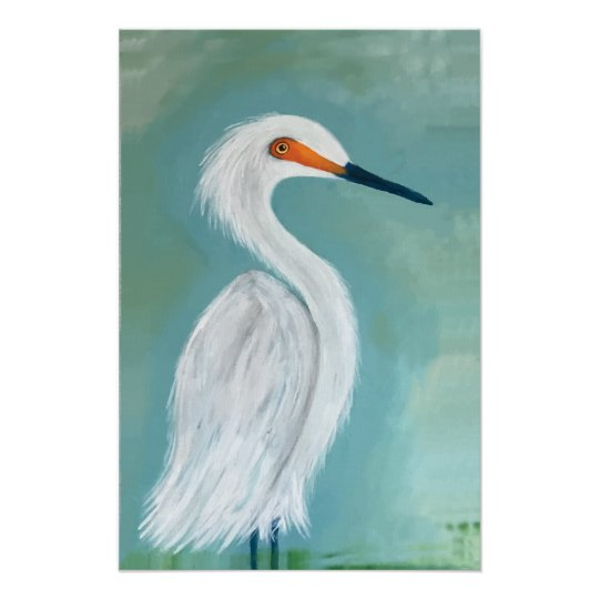 Great White Egret Fine Art Painting Poster