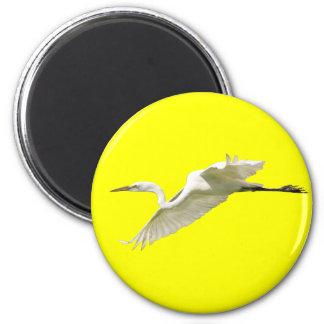 Great White Egret in Flight 6 Cm Round Magnet