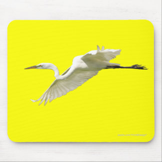 Great White Egret in Flight Mouse Pad