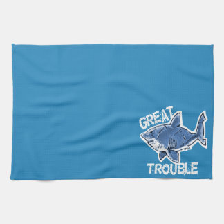 great white great trouble funny cartoon tea towel