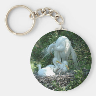 great white heron basic round button key ring