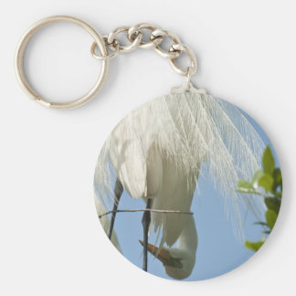 Great White Heron Bottoms Up Basic Round Button Key Ring