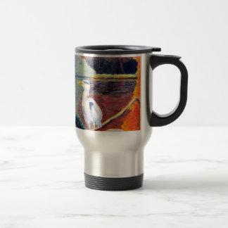 Great White Heron Impressionist Painting Coffee Mugs