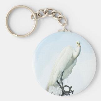 Great White Heron Portrait Key Chain