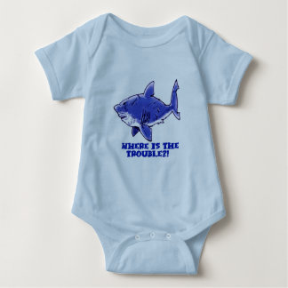 great white shark cartoon with text baby bodysuit