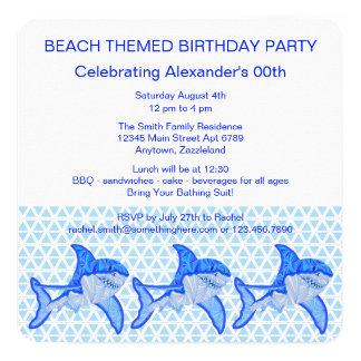 Great White Shark Colorful Sea Animal 13 Cm X 13 Cm Square Invitation Card