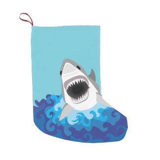 Great White Shark Funny Cartoon Small Christmas Stocking