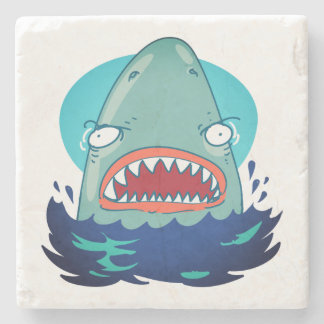 great white shark funny cartoon stone coaster