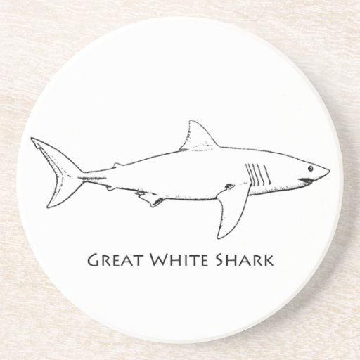 Great White Shark (line art) Coasters