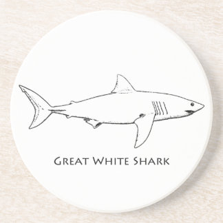 Great White Shark (line art) Sandstone Coaster