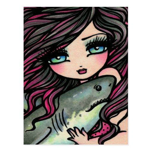 Great White Shark Mermaid Fantasy Art Postcard