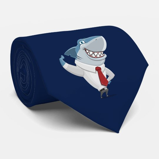 Great White Shark Office Clothes Cartoon Necktie