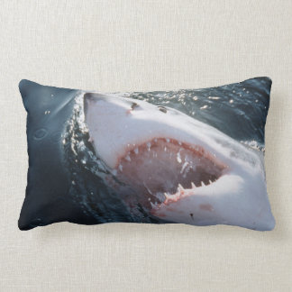 Great White Shark on sea Lumbar Cushion