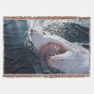 Great White Shark on sea Throw Blanket