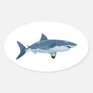 Great White Shark Oval Sticker