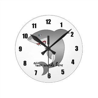 Great white shark round clock