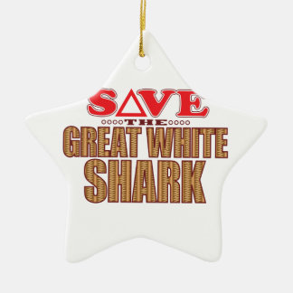 Great White Shark Save Ceramic Star Decoration