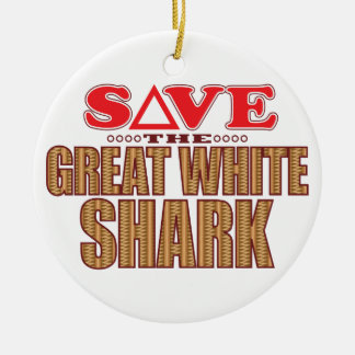Great White Shark Save Christmas Ornament