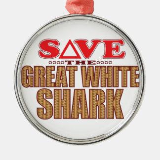 Great White Shark Save Christmas Ornament