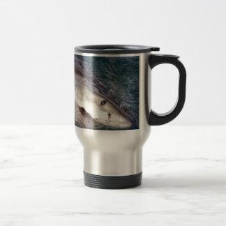 Great white shark spy hopping travel mug