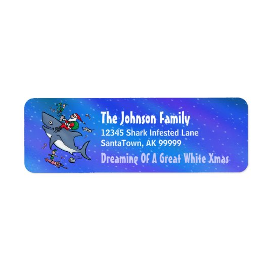 Great White Xmas Funny Return Address Labels