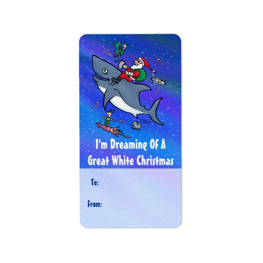 Great White Xmas Gift Labels With Santa on
