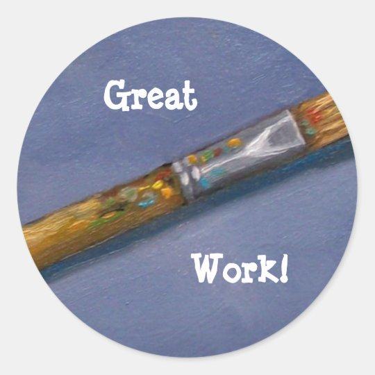 GREAT WORK: STICKER: PAINTBRUSH CLASSIC ROUND STICKER
