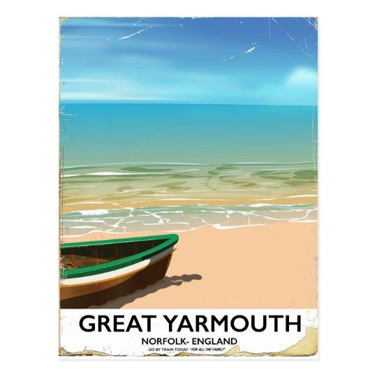 Great Yarmouth, Norfolk, Seaside travel poster Postcard
