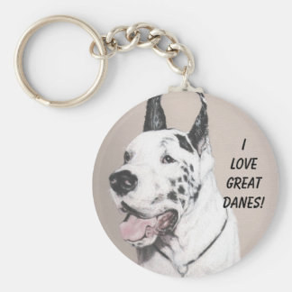 GreatDaneED, I LOVE GREAT DANES! Basic Round Button Key Ring