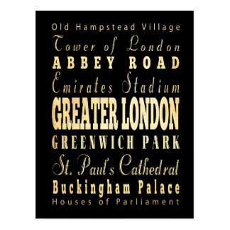 Greater London City of England Typography Postcards