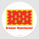 Greater Manchester Flag with Name Round Sticker