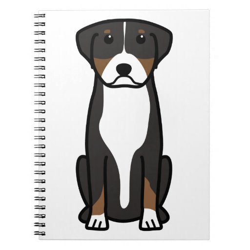 Greater Swiss Mountain Dog Cartoon Spiral Notebook