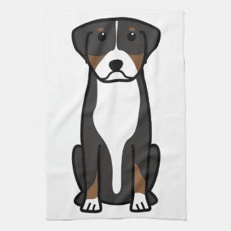 Greater Swiss Mountain Dog Cartoon Hand Towels