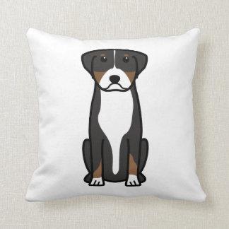 Greater Swiss Mountain Dog Cartoon Throw Cushion