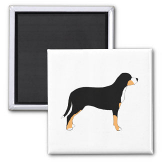 greater swiss mountain dog color silhouette square magnet