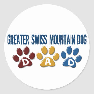 GREATER SWISS MOUNTAIN DOG Dad Paw Print 1 Round Stickers
