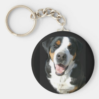 Greater Swiss Mountain Dog: Happy Basic Round Button Key Ring