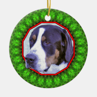 Greater Swiss Mountain Dog Happy Howliday Round Ceramic Decoration