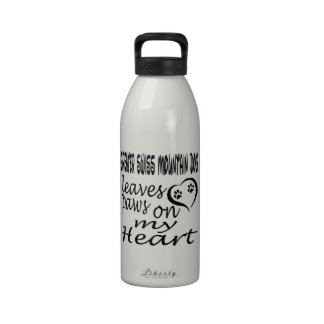 Greater Swiss Mountain Dog Leaves Paw On My Heart Water Bottle