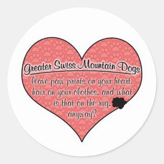 Greater Swiss Mountain Dog Paw Prints Humor Round Sticker