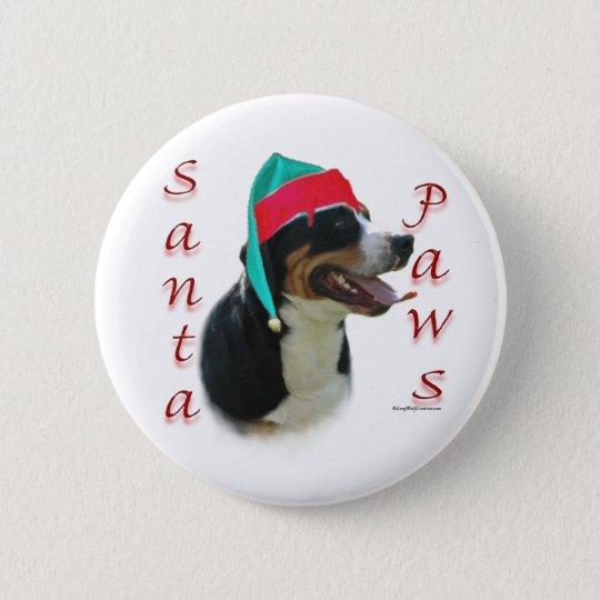 Greater Swiss Mountain Dog Santa Paws 6 Cm Round Badge