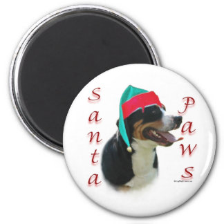 Greater Swiss Mountain Dog Santa Paws 6 Cm Round Magnet