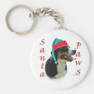 Greater Swiss Mountain Dog Santa Paws Basic Round Button Key Ring