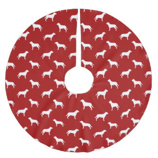 Greater Swiss Mountain Dog Silhouettes Pattern Red Brushed Polyester Tree Skirt