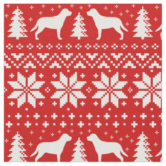 Greater Swiss Mountain Dogs Christmas Pattern Red Fabric
