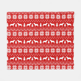 Greater Swiss Mountain Dogs Christmas Pattern Red Fleece Blanket
