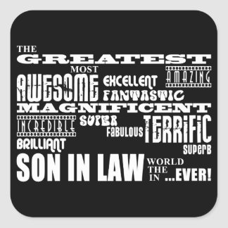 Greatest Best Sons in Law Birthday Wedding Party Square Stickers