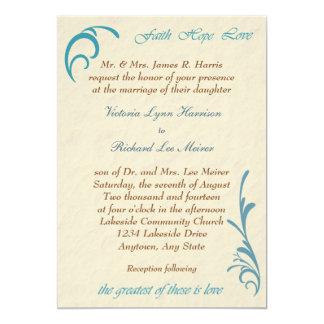 Greatest Love Peach Teal Wedding Invitation Custom Announcement