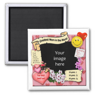 Greatest Mom Photo-Frame Square Magnet