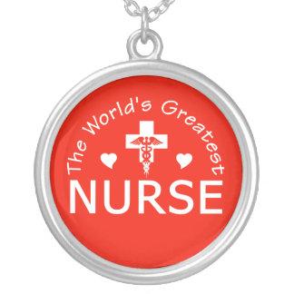 Greatest Nurse necklace, customizable Silver Plated Necklace